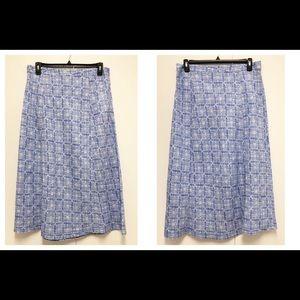 LL Bean Classic Fit 14 Linen blue Skirt